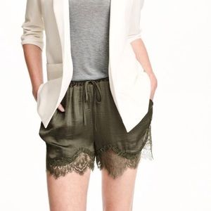 H&M lace trim drawstring silky shorts in green